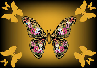 butterfly formed from pink flowers