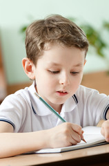 Young schoolboy does some notes with pen