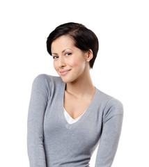 Smiley woman, isolated on white