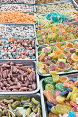 Assortment of various jelly candies as background