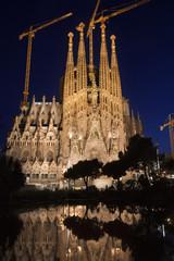 Sagrada Familia vertical night view. Barcelona