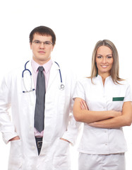 Two young and smart Caucasian medical workers in white clothes