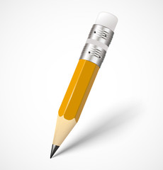 Realistic yellow pencil