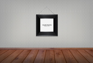 Photo frame in white vintage Room Background