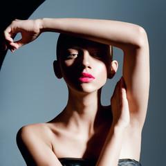 beautiful women red lips posing in studio