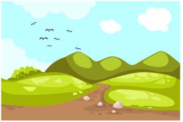 Poster de jardin Oiseaux, Abeilles Meadow landscape
