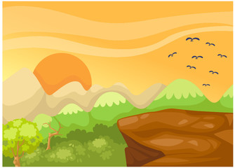 Wall Murals Birds, bees landscape cliff in the jungle