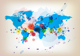world map and watercolor