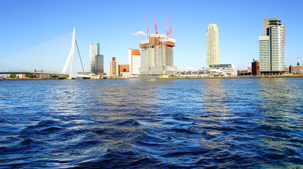 Wall Mural - Erasmus Bridge and Rotterdam port. Rotterdam