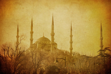Vintage image of Blue Mosque, Istambul