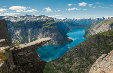 Poster Blauw Trolltunga, Troll's tongue rock, Norway