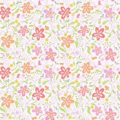 seamless  pink floral   background with butterfly