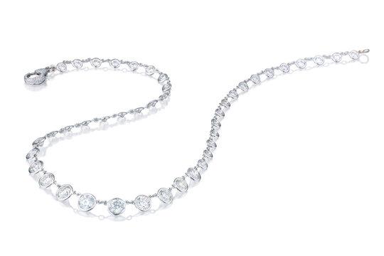 Diamond  necklace on a white background