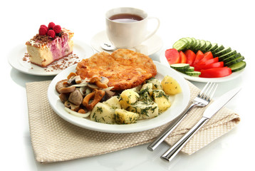 Roast chicken cutlet with boiled potatoes and  vegetables, cup