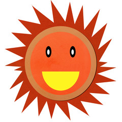 Smiling sun made form clay