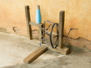 Old distaff in a silk factory