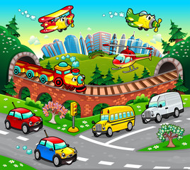 Photo sur Aluminium Avion, ballon Funny vehicles in the city. Cartoon and vector illustration.