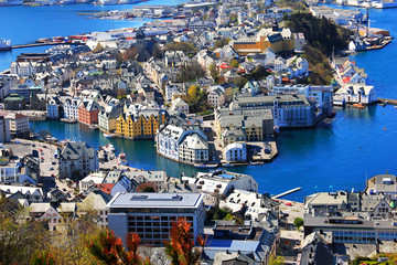 View of the city of Alesund, Norway