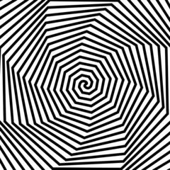 Deurstickers Psychedelic Black and white hypnotic background.