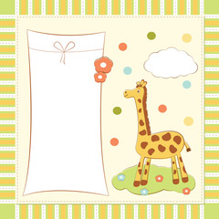 baby greeting card with giraffe