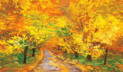 Vector of autumnal landscape, pathway in park.