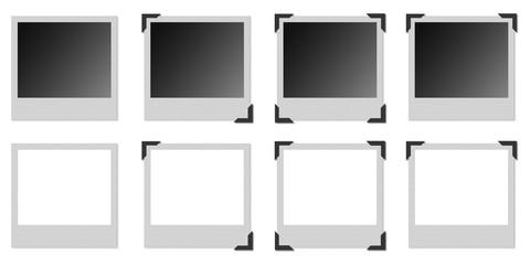Vari modelli di cornici polaroid con angolari metallici