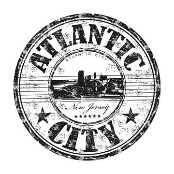 Atlantic City grunge rubber stamp