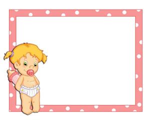 cornice rosa con bambina