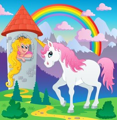 Spoed Foto op Canvas Pony Fairy tale unicorn theme image 3