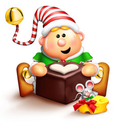 Whimsical Cartoon Elf Eating Chocolate