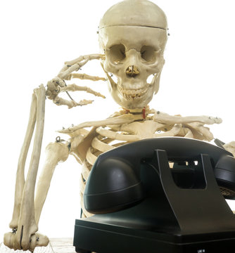 Skeleton Wating the Phone to Ring
