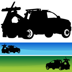 Tow Truck Silhouette Banner Set