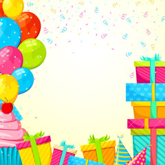 vector illustration of happy birthday gift and balloon