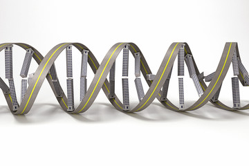 3d image of DNA strand of building against white background