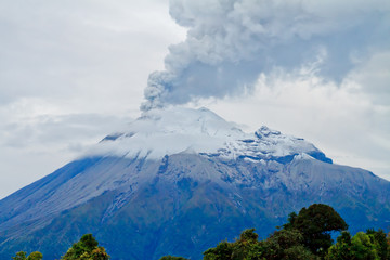 Acrylic Prints Volcano Closeup of Tungurahua Volcano a large amount of ashes