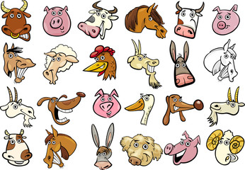 Cartoon farm animals heads huge set