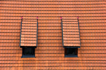 Tiled garret roof. Architectural textured background.