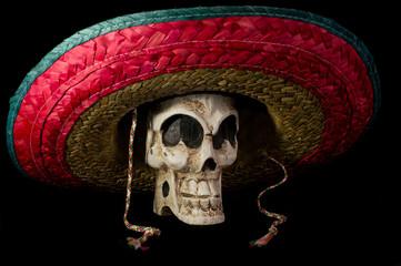 Dia De Los Muertos - Day of The Dead Skull With Sombrero