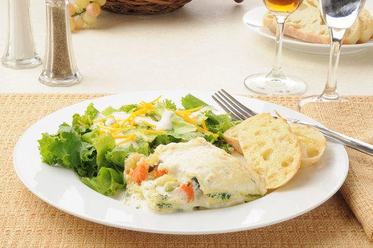 Vegetable lasagna and salad