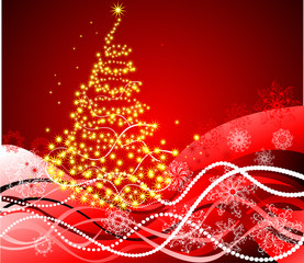 Christmas background with fancy tree