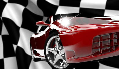 Papiers peints Rouge, noir, blanc Red car on a checkered flag