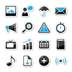 Internet website icons set styled as labels