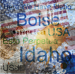 Idaho. Word Grunge collage on background.