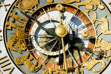 Close-up of the clock of Oslo City Hall