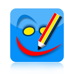 Coloring pencil drawing smile icon