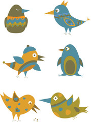 Set of colorful cartoon birds.