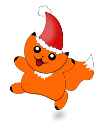Christmas cartoon picture of a cute small cat named Peega