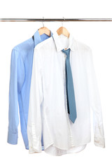 blue and white shirts with tie