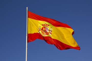 Spanish flag on a pole