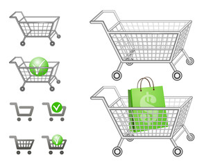 Cartoon set of shopping carts for your website